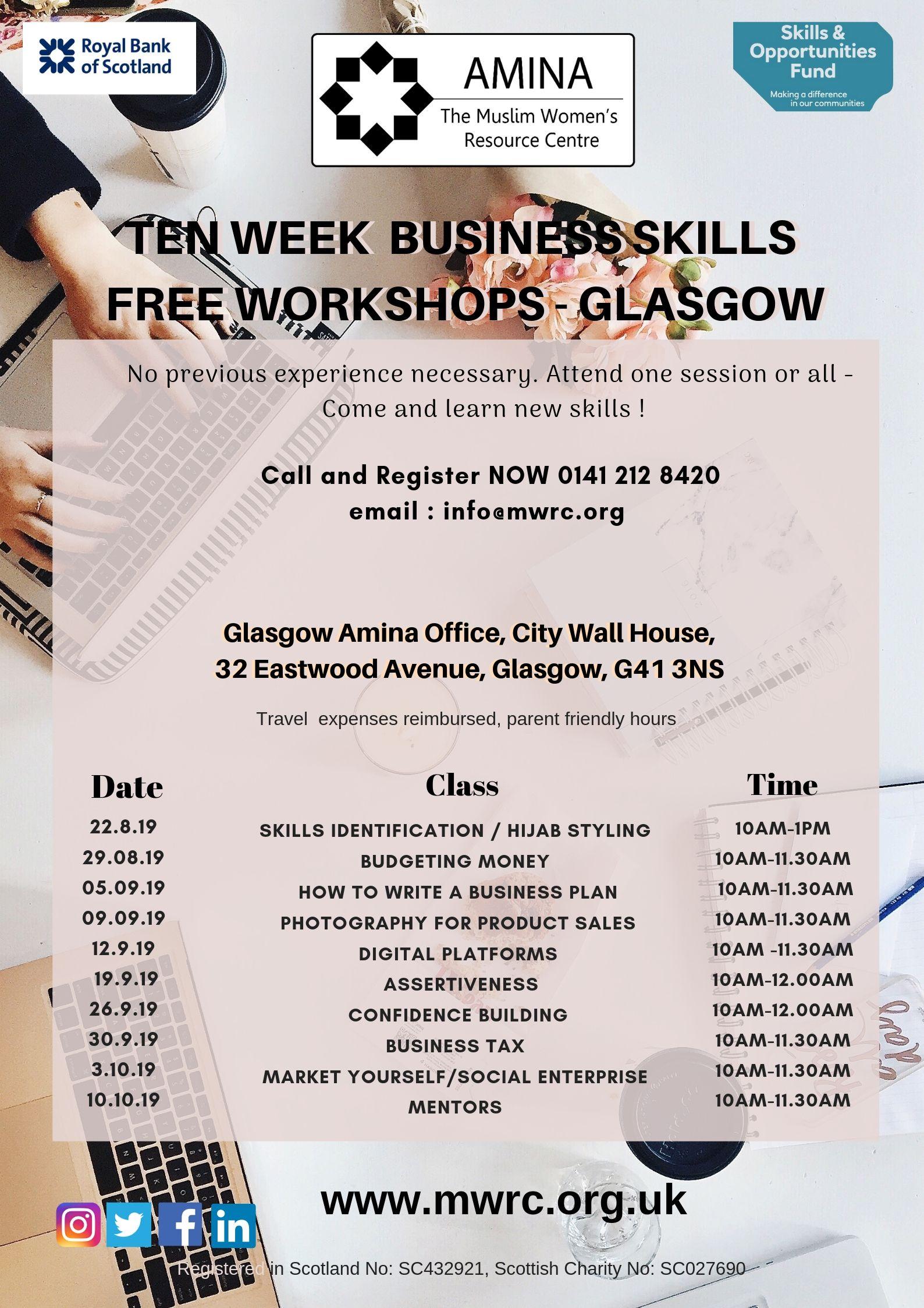 10-week Business Skills Workshops - Glasgow